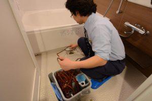 バスルームの排水管清掃 高圧洗浄