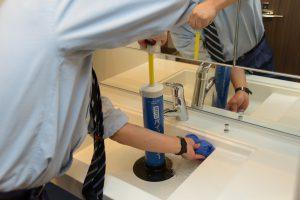 洗面台の排水管清掃 高圧洗浄